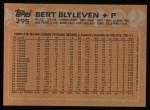 1988 Topps #295  Bert Blyleven  Back Thumbnail