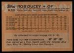 1988 Topps #438  Rob Ducey  Back Thumbnail
