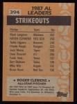 1988 Topps #394   -  Roger Clemens All-Star Back Thumbnail