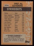 1988 Topps #394   -  Roger Clemens All-Star Back Thumbnail