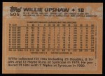 1988 Topps #505  Willie Upshaw  Back Thumbnail