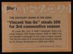 1988 Topps #1   -  Vince Coleman Record Breaker Back Thumbnail