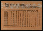 1988 Topps #185  Rick Rhoden  Back Thumbnail