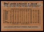 1988 Topps #716  Lenn Sakata  Back Thumbnail