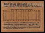 1988 Topps #105  Jesse Orosco  Back Thumbnail