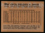 1988 Topps #618  Cecil Fielder  Back Thumbnail