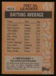 1988 Topps #403   -  Tim Raines All-Star Back Thumbnail