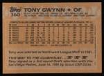 1988 Topps #360  Tony Gwynn  Back Thumbnail