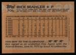 1988 Topps #706  Rick Mahler  Back Thumbnail