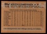 1988 Topps #778  Keith Comstock  Back Thumbnail