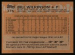 1988 Topps #376  Bill Wilkinson  Back Thumbnail