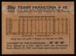 1988 Topps #686  Terry Francona  Back Thumbnail