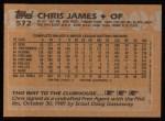 1988 Topps #572  Chris James  Back Thumbnail