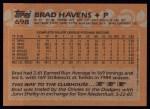 1988 Topps #698  Brad Havens  Back Thumbnail
