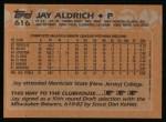 1988 Topps #616  Jay Aldrich  Back Thumbnail