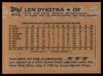 1988 Topps #655  Len Dykstra  Back Thumbnail