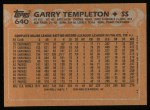 1988 Topps #640  Garry Templeton  Back Thumbnail