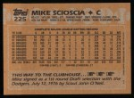 1988 Topps #225  Mike Scioscia  Back Thumbnail