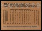 1988 Topps #606  Moose Haas  Back Thumbnail