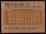 1988 Topps #467  Don Aase  Back Thumbnail