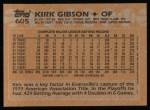1988 Topps #605  Kirk Gibson  Back Thumbnail