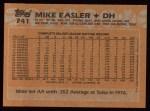 1988 Topps #741  Mike Easler  Back Thumbnail