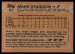 1988 Topps #61  Mark Knudson  Back Thumbnail