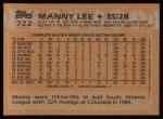 1988 Topps #722  Manny Lee  Back Thumbnail