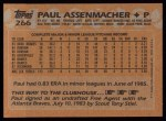 1988 Topps #266  Paul Assenmacher  Back Thumbnail