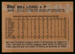 1988 Topps #309  Bill Long  Back Thumbnail