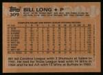 1988 Topps #309  Bill Long  Back Thumbnail