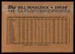 1988 Topps #145  Bill Madlock  Back Thumbnail