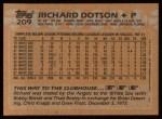 1988 Topps #209  Richard Dotson  Back Thumbnail