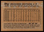 1988 Topps #209  Richard Dotson  Back Thumbnail