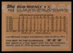 1988 Topps #703  Bob Brenly  Back Thumbnail