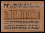 1988 Topps #515  Juan Nieves  Back Thumbnail