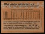 1988 Topps #9  Andy Hawkins  Back Thumbnail