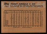 1988 Topps #761  Tony Armas  Back Thumbnail