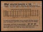 1988 Topps #785  Alvin Davis  Back Thumbnail