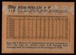 1988 Topps #118  Bob Welch  Back Thumbnail