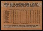 1988 Topps #283  Phil Lombardi  Back Thumbnail