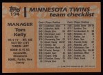 1988 Topps #194  Tom Kelly  Back Thumbnail
