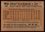 1988 Topps #89  Gary Thurman  Back Thumbnail