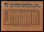 1988 Topps #726  Alfredo Griffin  Back Thumbnail
