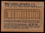1988 Topps #734  Craig Lefferts  Back Thumbnail