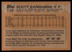 1988 Topps #738  Scott Bankhead  Back Thumbnail