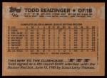 1988 Topps #96  Todd Benzinger  Back Thumbnail