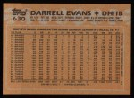 1988 Topps #630  Darrell Evans  Back Thumbnail