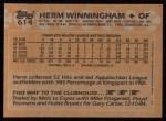 1988 Topps #614  Herm Winningham  Back Thumbnail
