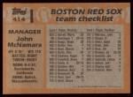 1988 Topps #414  John McNamara  Back Thumbnail